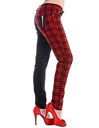 Womens Red Banned Half Tartan Plaid Check Emo Punk Split Leg Skinny Trousers