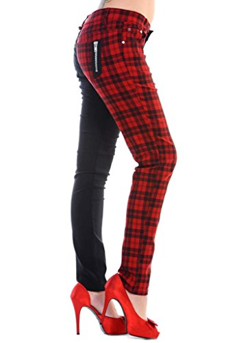 Womens Red Banned Half Tartan Plaid Check Emo Punk Split Leg Skinny Trousers - - Jeans Banned