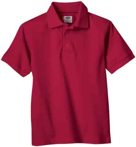 Dickies Big Boys' Short Sleeve Pique Polo Shirt, Red, X-Large (18/20)