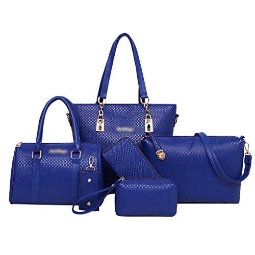 Partito a Elegante Pezzi Anguang Borse Donna Shopping Borsa Blu 5 Mano Portafoglio Pochette a Tracolla 8wwYqdp