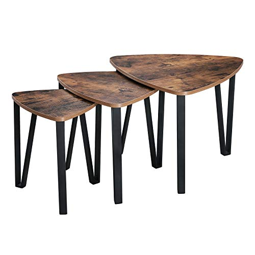 VASAGLE Industrial Nesting Coffee Table, Set of 3 for Living Room, Stacking End Side Nightstand, Sturdy and Easy Assembly, Wood Look Accent Furniture with Metal Frame ULNT13X ()