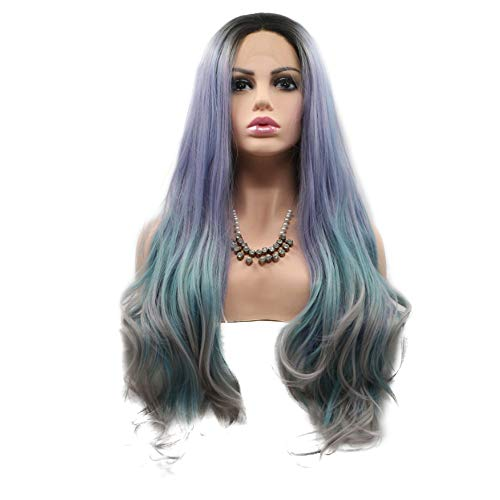 - Wenjing Front Lace Wig Fabulous Long Curly Deep Wave Synthetic Wig Smoky Purple Mixed Gray and Blue for Beauty Blogger