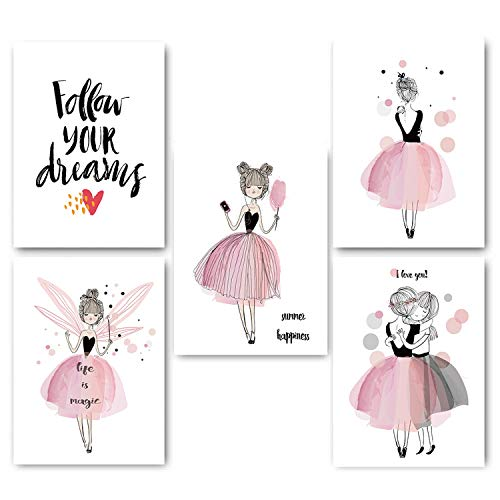 Watercolor Cartoon Girl Posters and Prints Wall Art Canvas Painting Nordic Style Picture for Living Room Home Decor,70X100Cm No Frame,5 Pcs Set