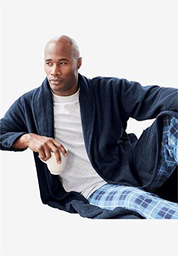 [Kingsize Men's Big & Tall Terry Bathrobe With Pockets, Navy Tall-2Xl/3X] (Tall Terry Cloth Robes)