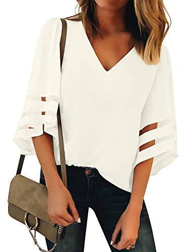 Luyeess Women's Casual V Neck Loose Mesh Panel Chiffon 3/4 Bell Sleeve Blouse Top Shirt Tee White Color, Size L(US - Shirt White Blouse