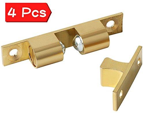 Alise CA250-4P Solid Brass Cabinet Door Closet Ball Tension Catch Latch,2.7-Inch x 0.47-Inch4 (Solid Brass Door)