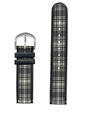 Pedre Black Plaid Grosgrain Watch Strap 18mm - Replacement Watch Band - Preppy & Chic Fashionable ()