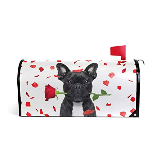Magnetic Mailbox Cover Greetings Personalized Home Garden Decorative Mailbox Post Wrap Standard/Large Sized Outdoor Courtyard Garden Fence French Bulldog Crazy And Silly In Love On Valentines Day ()