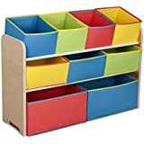 delta children multicolor deluxe toy organizer with storage bins