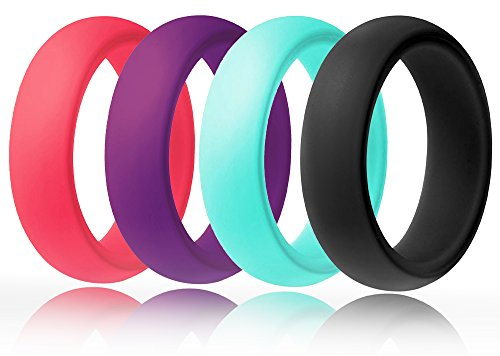 (FluxActive Silicone Wedding Ring Women (4 Band Pack) Black, Purple, Pink, Teal (4) )