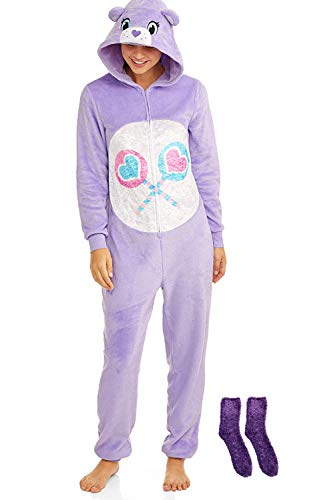 Care Bears Women's Sleepwear Union Suit Set with Matching Minky Socks (Purple, X-Large (16-18)) -
