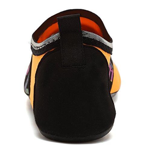 VIFUUR Wassersport Schuhe Barfuß Quick-Dry Aqua Yoga Socken Slip-On für Männer Frauen Kinder Liebesorange