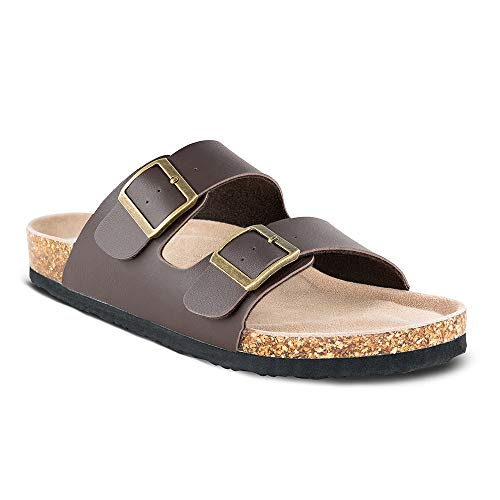 (TF STAR Men's Slip On Flat Casual Cork Sandals with 2-Strap Buckle,Leather Cork Slide Arizona Sandals for Men Brown)