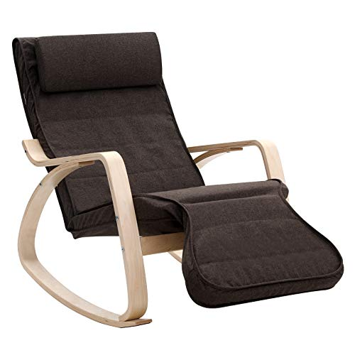 SONGMICS Rocking Relaxing Lounge Chair, Solid Wood Recliner Glider with Adjustable Footrest and Headrest, Cushioned Backrest and Seat, Brown ULYY42BR