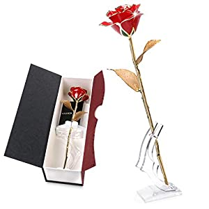K_LUCKYI [Upgrade] 24K Gold Rose with Gift Box is Unique Gift for Mother's Day Valentine's Day Christmas's Day Lover's Birthday (Goldleaf with Stand)