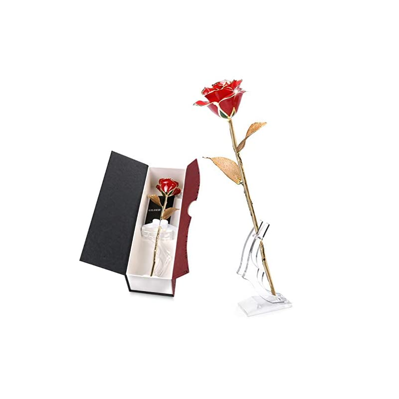 silk flower arrangements k_luckyi [upgrade] 24k gold rose with gift box is unique gift for mother's day valentine's day christmas's day lover's birthday (goldleaf with stand)