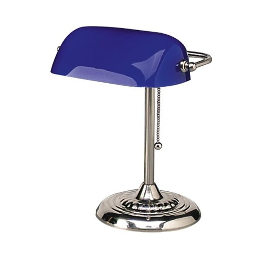 """Ledu : Traditional Incandescent Bankers Lamp, Blue Glass Shade, Chrome Base, 14"""" -:- Sold as 2 Packs of - 1 - / - Total of 2 Each"""