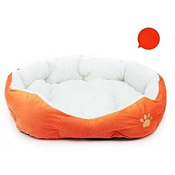 Westeng Casa para Mascotas Suave Cama de Perro De Sofa Perro Gato Patrón de Huellas de Perro Size 46 * 42cm (Naranja): Amazon.es: Hogar