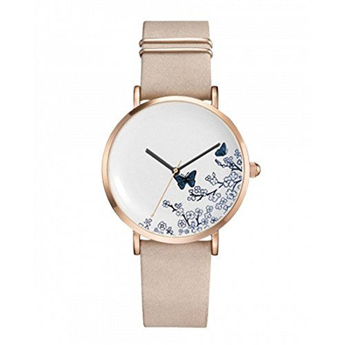 Flower Hand Painted Ceramic (Loweryeah Stainless Steel Mesh Marble Watch Hand-Painted Imitation Ceramic Butterfly Flower Quartz Watch)