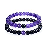 Cherry Tree Collection Couples Distance Bracelets | His Hers | Gemstone Beaded Stretch Bracelets 8mm Round Beads (7.5'' Black Agate 7'' Amethyst)