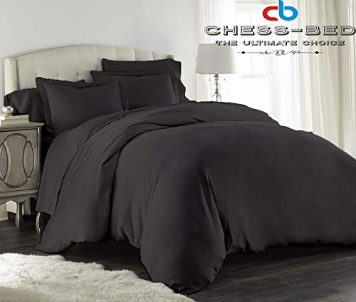 Chess Bed 100% Natural Egyptian Cotton 600 Thread Count Hypoallergenic 68x90 inch Twin/Twin XL Size Black Solid Duvet Cover with Button Closure & 2pcs Pillow Case - Chess 600