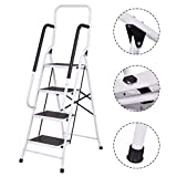 Happybeammy 2 In 1 Non-slip 4 Step Ladder Folding Stool w/Handrails 330Lbs Load Capacity