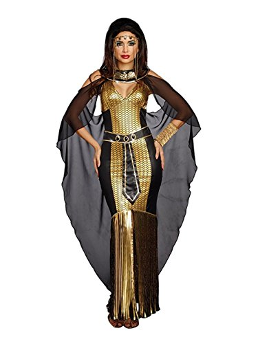 Dreamgirl Women's Egyptian Queen, Black/Gold, (Couple Costume Cleopatra)
