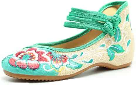 818bfd7a2 CINAK Embroidered Flats Shoes Women's Chinese Embroidery Ballet Lofers Slip  on Comfortable Bohemia
