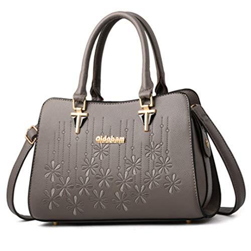broderie des main bandoulière sacs femmes de à Dark de Grey de main d'épaule à dames pour en Sacs cuir grande à élégants Sacs de capacité OtTxf