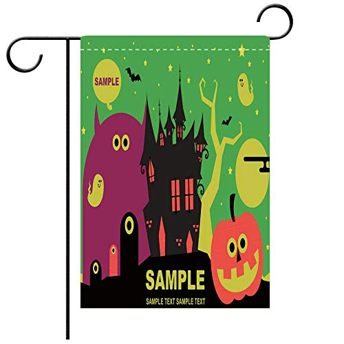 Artistically Designed Yard Flags, Double Sided Spooky Halloween devils castle party invitation star lit night sky background with cute Decorative Deck, patio, Porch, Balcony Backyard, Garden or -