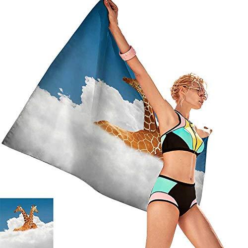 Bath Towel Set Cumulus nuages et le ciel bleu tournage en Plein air,W31 xL63 for Bathroom Striped