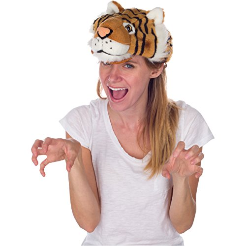 Rittle Bengal Tiger Animal Hat, Realistic Plush Costume Headwear One Size