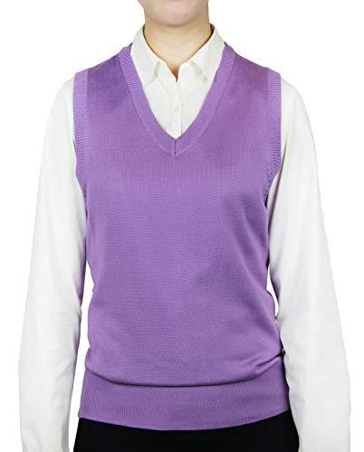 Womens V-neck Sweater Vest - Blue Ocean Ladies Classic Sweater Vest, Lavender, XX-Large