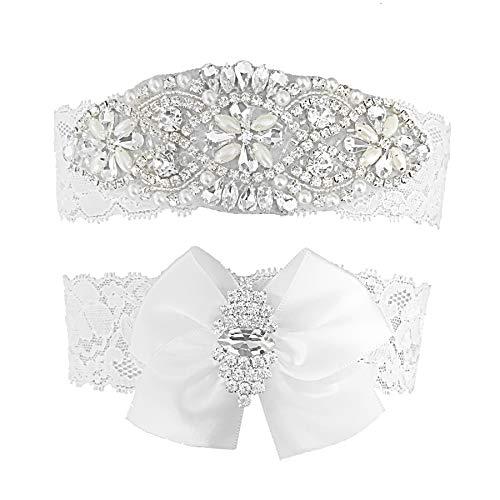 (Kirmoo Vintage Bridal Garter Set Lace Wedding Garters For Bride White with Bow Rhinestones (XL(20