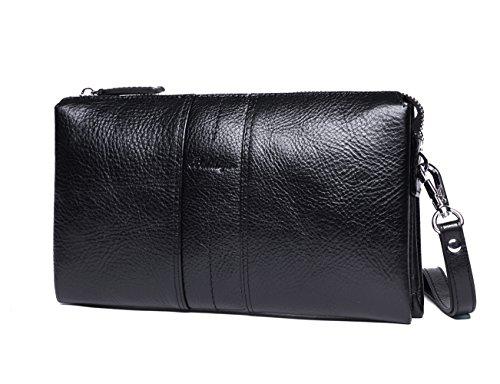 Clutch Wax Vintage Zip Card Checkbook Purse Ostrich Handbag Black Cash Brown Emboss Leather Retro Ipad Men Around Wristlet Bags For Real 0catPWTqw