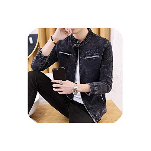 Men's Jackets Spring Autumn Korean Trend Slim Standing Collar Men's Vintage Denim Jackets S 3XL,Blue,S (Korean Style Standing Collar)