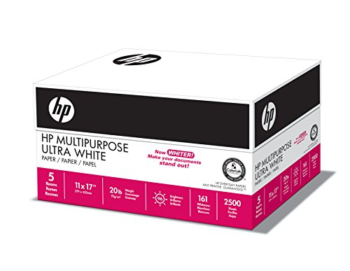 HP Paper, Multipurpose Ultra White, 20lb, 11 x 17, Ledger, 96 Bright, 2500 Sheets / 5 Ream Case (172001C), Made In The USA (20x30 Photo Paper)