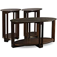 Leick Oval Bronze Glass Top Contemporary Two Side Table & Coffee Table (3 Pack)
