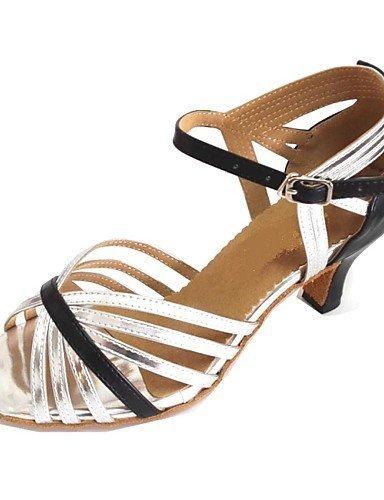 ShangYi Customized Women's Dance Sandals Customized Heel Latin Salsa Shoes black and sliver HmLQMWhf