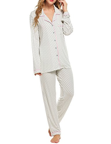 Ekouaer Sleepwear Women's Knit Lounge Pajama Set With PJ Pants,White With Black Dots,X-Large