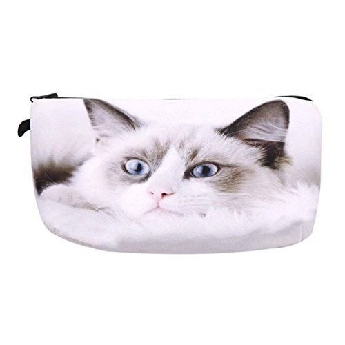 CH White Cute Cat Cosmetic Organizer Bag 3D Printing Women Travel Makeup Case Portable Cosmetic - Carolina Herrera Bags