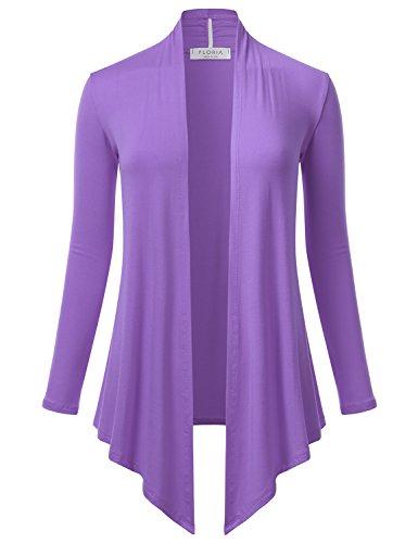 FLORIA Women's Open Front Drape Hem Lightweight Long Sleeve Knit Cardigan Lilac 3XL