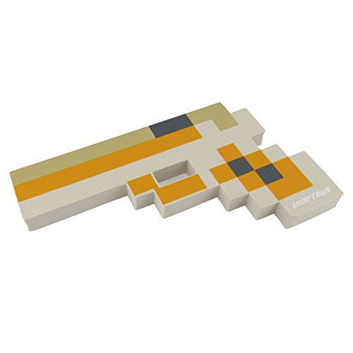 Minecraft Villager Costume (8 Bit Foam Gun Toy Weapon, Pixelated Magnum Yellow Pistol, 10 inch, EnderToys)