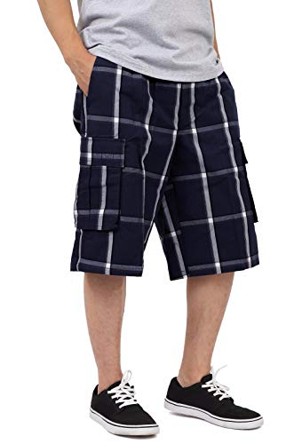 (SP1703_XL Relaxed fit Plaid Cargo Shorts Navy 1X)