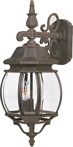 Maxim 1034RP Crown Hill 3-Light Outdoor Wall Lantern, Rust Patina Finish, Clear Glass, CA Incandescent Incandescent Bulb , 60W Max., Damp Safety Rating, Standard Dimmable, Frosted Glass Shade Material, Rated - 3 Finish Rust Bulbs