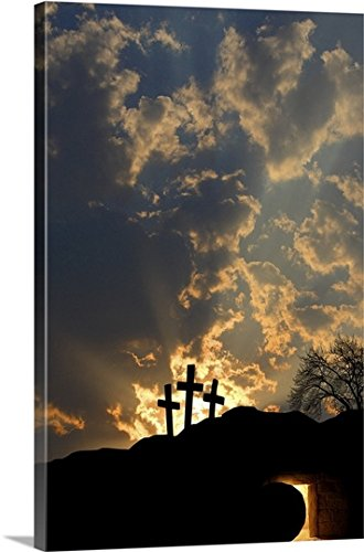 Colette Scharf Premium Thick-Wrap Canvas Wall Art Print entitled Empty Tomb And Three Crosses by Canvas on Demand