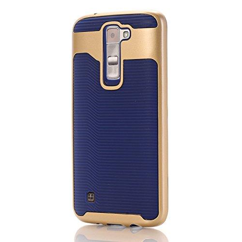LG Tribute 5 Case, LG K7 Case, Speedup 2 in 1 Wave Texture Bumper Frame Corner Guard ShockProof Strong Grip Ultra Slim Hybrid Dual Layer Armor Defender Protective Cover (Gold + Navy Blue)