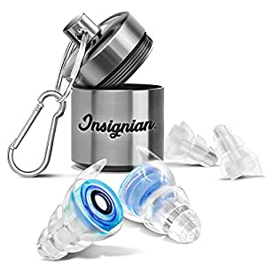 High Fidelity Ear Plugs Noise Reduction and Hearing Protection for Music Festivals, DJs & Musicians (Two Different Sizes, Aluminum Case)