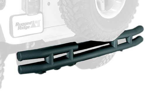 Rugged Ridge 11571.04 Textured Black Rear Tube Bumper with Hitch ()