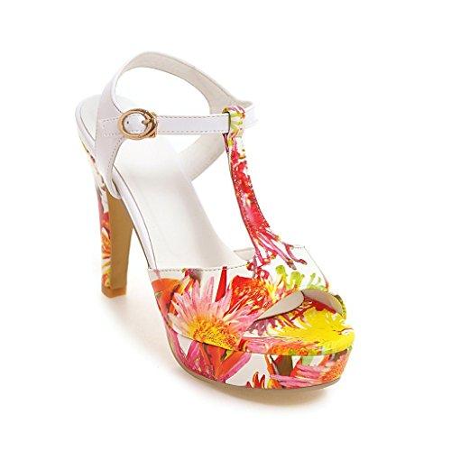 QIN&X La Mujer Tacones de Aguja Peep Toe Sandalias Al Tobillo. Red